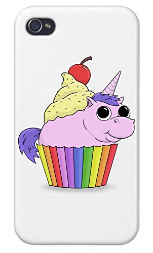 Apple iPhone Custom Case 4 4S White Plastic Snap On - Unicorn Rainbow Cupcake