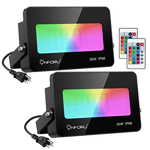 Onforu 2 Pack 35W Color Changing Flood Light,RGB Flood Light with Remote Control, Indoor Outdoor IP66 Waterproof Dimmable Colored LED Floodlight, Wall Washer Light with Timer and Memory Function