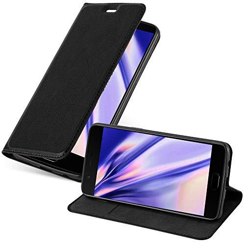 Cadorabo Hülle für OnePlus 5 - Hülle in Nacht SCHWARZ – Handyhülle mit Magnetverschluss, Standfunktion & Kartenfach - Hülle Cover Schutzhülle Etui Tasche Book Klapp Style
