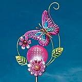 MSR Butterfly Decorative Globe Solar Powered Garden Stake