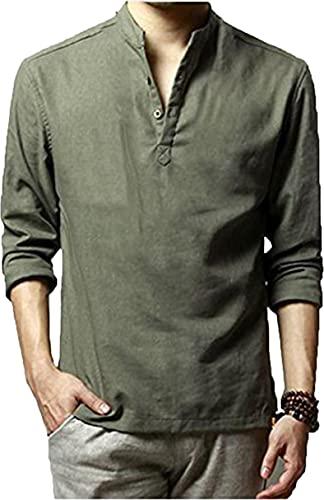 HOEREV Shirts pour hommes occasionnels à manches longues,Vert,S Poitrine 90-94cm