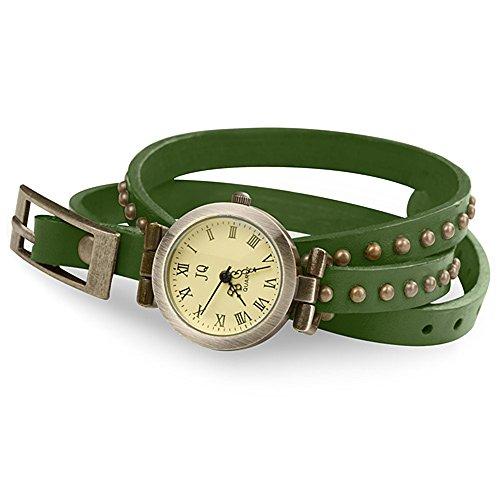 Taffstyle Damen-Armbanduhr Analog Quarz mit Leder-Armband Wickelarmband Uhr Vintage Olivgrün Gold