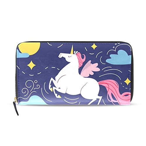 Monedero de piel sintética con diseño de unicornio mágico, color azul oscuro, con cremallera, para tarjetas, organizador de dinero, regalo de Navidad, regalo de cumpleaños para mujeres, niñas, adolescentes y niños