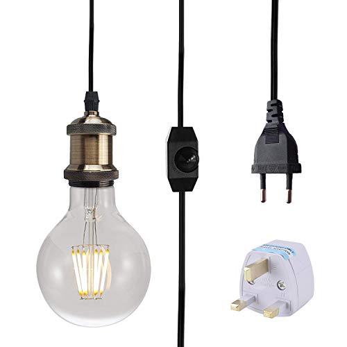 Vintage Lámpara de Techo Luz Colgante, Portalamparas E27 con Enchufe y interruptor, 3M Adaptador de lámpara con enchufe (Bronce)