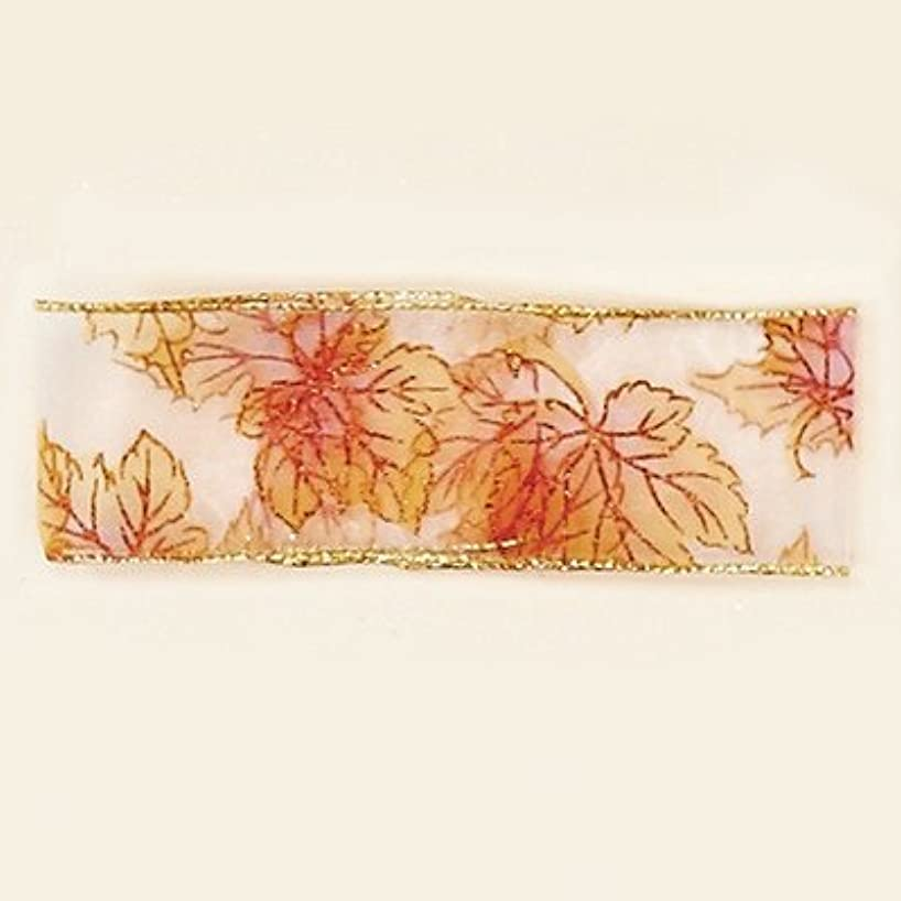 Worth Imports Wide Glitter Fall Leaf Wired Ribbon Roll, 2.5