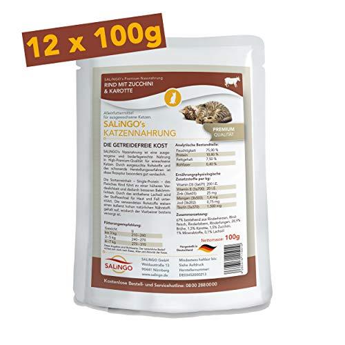 SALiNGO Katzenfutter nass, Rind mit Zucchini und Karotten, getreidefrei (12x100g)