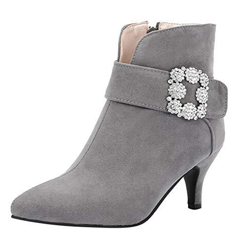 JERFER Frauen Wildleder Spitzschuh Schnalle-High Heels Reißverschluss Ankle Boots