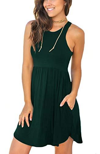LONGYUAN Women Beach Dress Bathing Suit Cover Ups for Sundress Large,Dark Green