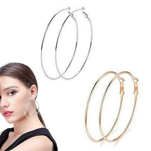 Uni-Fine - Set di orecchini a cerchio grandi, in acciaio INOX, 50/60/70 mm, per donne, colore: 70 mm., cod. hoopearrings7