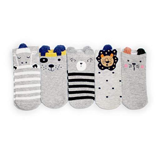 LIFENEY 5 Paar Baumwolle Sneaker Socken Damen I Bunte Socken Mädchen I Lustige Socken I Socken 35-39 I Füsslinge Sportsocken