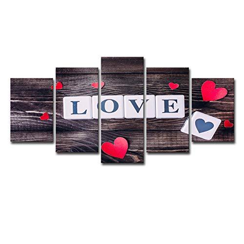 SLJZD kanvastryck 5 stycken kärlek rött hjärta romantik tryck på duk stor canvasmålning mikro spray konst affisch modulära bilder kanvastryck sovrum oramad 50 cm