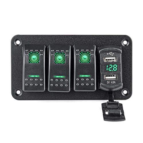 RJJX 4 pandillas LED Rocker Interruptor Panel Voltímetro Digital Puerto USB Dual 12V / 24V Combinación de Salida a Prueba de Agua Barco Marino (Color : Green)