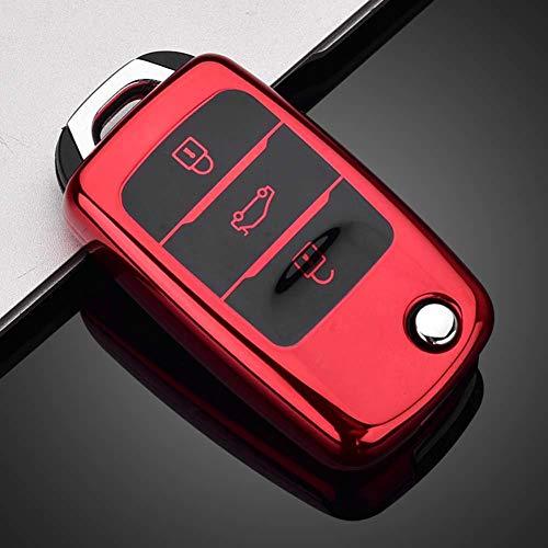 AMLaost TPU Car Key Case Fabia Seat Leon Key Cover Case Cadena Accesorios, para VW Golf Bora Jetta POLO GOLF Passat Skoda Octevia A5