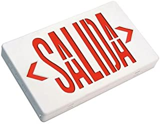 LED Spanish Exit Sign Salida with Battery Backup - Red Letters