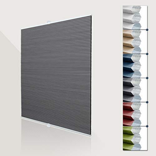 Deswell Waben plissee verdunklung ohne Bohren doppelplissee Thermo klemmfix für Fenster & Tür, Sonnen-, Sicht- & Schallschutz Weiß-Grau 85x140cm