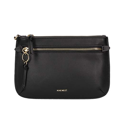 Nine West Tasche aus Kunstleder, schwarz, mit Griff und Außentasche, Maße: 16 x 24 x 1 cm
