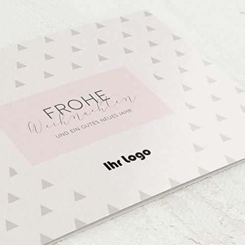 Firmen-Weihnachtskarten im Set, personalisiert mit Ihrem Firmenlogo & -text, Glitzernde Weihnachten, 12 Klappkarten, wahlweise mit Goldveredelung, optional mit bedruckten Design-Umschlägen