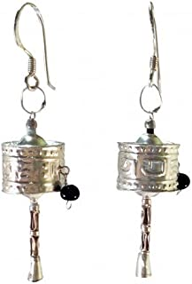 Good Karma Trading Tibetan Prayer Wheel Earrings Sterling Silver