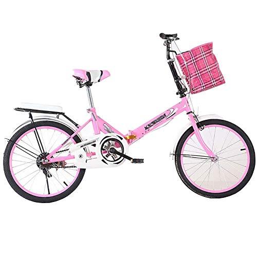 GFYWZ Bicicleta Plegable Ligera para Mujeres, Adultos, Adultos, Velocidad Ultra Variable, 16/20 Pulgadas, Pequeña Bicicleta para Estudiantes, para Hombres, Bicicleta Plegable,Rosado,20IN