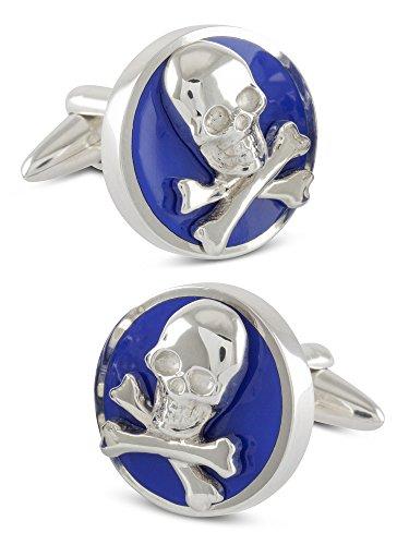 ZAUNICK Runde Skull & Bones Manschettenknöpfe Silber 925 handgefertigt, blau