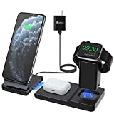 Hoidokly Wireless Charger, Detachable and Magnetic 3 in 1 Wireless Charging Stand for Apple Watch, AirPods Pro/2, 7.5W Qi Fast Charging Station Dock for iPhone 11 Pro Max/SE 2/XR/XS/X/8(with Adapter)
