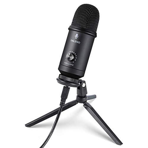 RALENO - Micrófono de aspecto metálico con USB y micrófono profesional de 192 kHz, para restaurar Vocals y eliminar el ruido, compatible con Mac PC, para Skype YouTube Teaching Gaming Recording