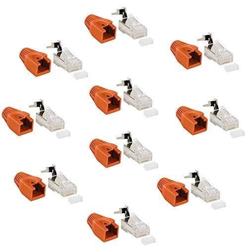 Faconet - Juego de 10 conectores de red RJ45 CAT 7A CAT 6A CAT7 hasta 10 Gigabit Crimp Conector modular Protección contra torceduras Cable de red LAN Cat7 Cat8.1 AWG23