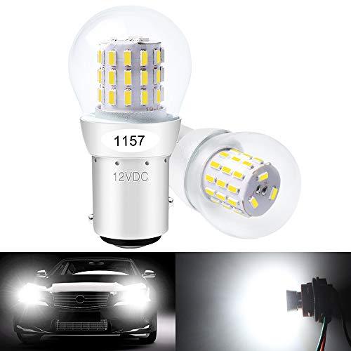 DEFVNSY 2 X Bianco 1157 BAY15D 2057 2357 7528 Luce a LED estremamente luminosa 3014 39SMD Lampadine di ricambio per lampadine retromarcia posteriori Luce di marcia diurna 12V DC
