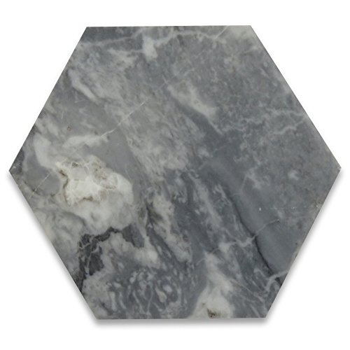 Bardiglio Gray Italian Dark Grey Marble Hexagon Tile 6 inch Polished