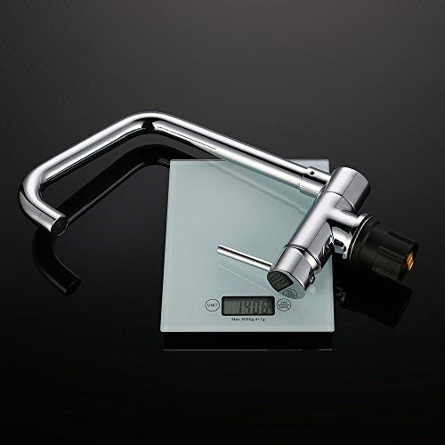 Homelody – Vorfenster-Küchenarmatur, 360° schwenkbar, hoher Auslauf, Chrom - 4