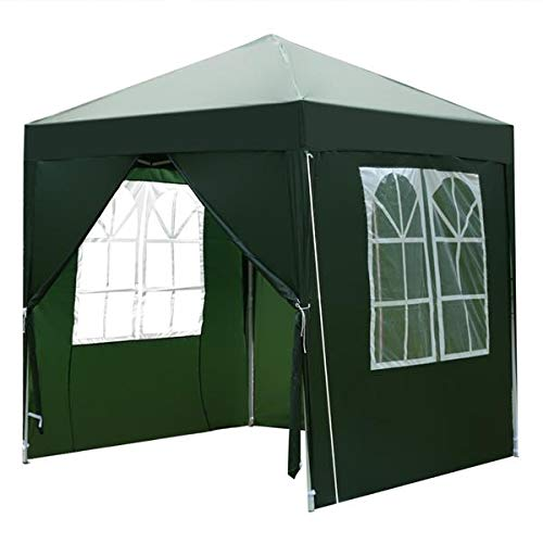 YELITE 2 x 2m Pop up Gazebo, Practical Waterproof Right-Angle Folding Tent, Two Doors & Two Windows, Outdoor Shelter, with Four Side Panels, and Carry Bag, for Garden Party Outdoor Event (Green)