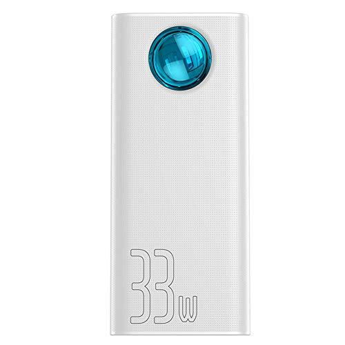 Power Bank 30000mAh Tipo-C PD 3.0 Cargador rápido para iPhone Carga rápida 3.0 Batería Externa PowerBank para Huawei Xiaomi Samsung,Blanco