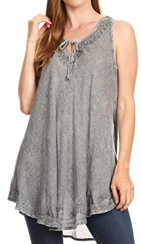 Sakkas 19237 - Mai Women's Casual Swing Sleeveless Loose Tie Dye Tunic Tank Top - 19236-Gray - OS
