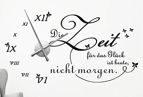 timalo® XXL Wanduhr Wohnzimmer Wandtattoo Spruch 'Die Zeit für das Glück ist heute, nicht morgen' mit Uhrwerk – Uhr zum Aufkleben | 76046-schwarz-110x58-Uhr-silber