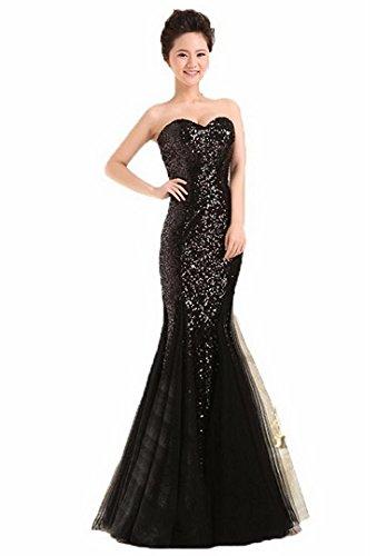 Women's Strapless Mermaid Floor Length Sequin Prom Dress Long Formal Evening Gown