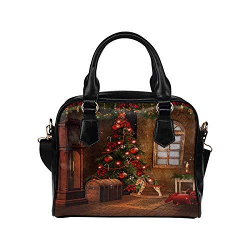Christmas Pine Tree PU Leather Purse Handbags Shoulder Crossbody Bag for Women Girls