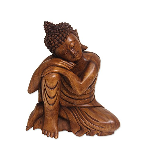 NOVICA Brown Wood Buddha Sculpture from Indonesia 'Relaxing Buddha'