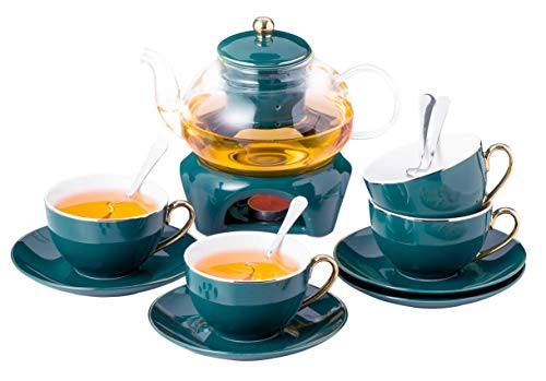 Jusalpha Dark Turquoise Green Fine China Glass Tea Pot With Infuser -Tea Cup Saucer Set with Teapot Warmer- Filter and Spoon, 16pcs in 1 set, (FD Glass pot set 05)