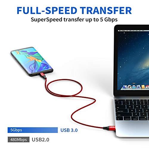 AVIWIS USB C Kabel [3.3ft/1m], USB Typ C Ladekabel USB 3.0 Schnelles Aufladen und Synchronisation Kompatibel für Samsung Galaxy S20/S10/S9/S8+, Huawei P30/P20, LG V20/G6, HTC 10/U11, Xiaomi, OnePlus