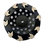 7 inch Diamond Grinding Cup Wheel Grit 30/35 Arrow Diamond Segment for Concrete Epoxy Glue Mastic Paint and Coating Removal 5/8-11 Thread