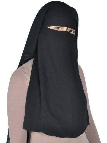 Egypt Bazar Niqab dreilagig - Hijab Gesichtsschleier Burka Khimar Islamische Gebetskleidung, schwarz