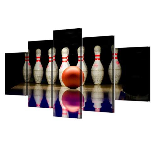 ERSHA Hd Gedruckt 5 Stück Leinwand Kunst Bowlingkugel Malerei Wandbilder Für Wohnzimmer Sportplakat(Gerahmt)