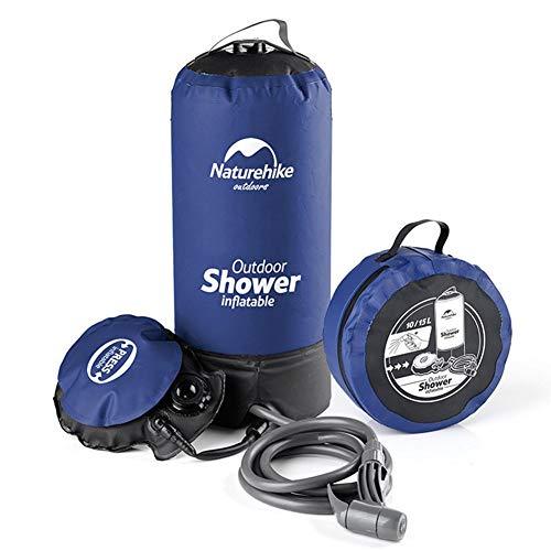 Jinclonder – Bolsa de agua caliente para ducha exterior, bolsa de baño para el sol, bomba de pie sencilla, boquilla de presión, diseño a prueba de fugas, conexión de inyección de agua muy grande, ligera.