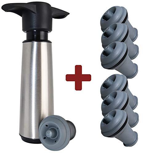 Vacu Vin Wine Saver Vacuum Pump Preserver- Stainless Steel Wine Preserver Pump and 7 Vacuum Bottle Stoppers