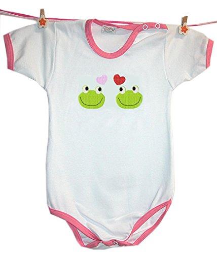 Zigozago - Body Bèbè à Manches Courtes pour bébé avec Broderie Love Frogs Taille: 18-24 Mois - Couleur: Rose - 100% Coton