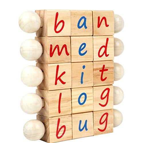 NUOBESTY Montessori Jouets Éducatifs en Bois Alphabet Rotatif Lettres Manipulatrices Blocs Mots Orthographe Cannes d'apprentissage pour Les Tout-Petits Enfants sans Cartes