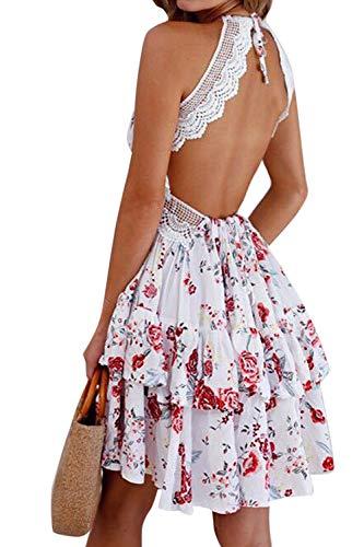 Zilcremo Sommerkleid Damen Minikleid Strandkleid V-Ausschnitt Spitzenkleid Sexy Rückenfreies Kleider Cocktailkleid Partykleider Abendkleid Blumen M