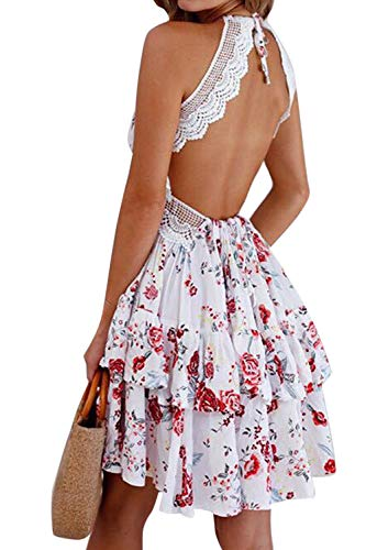 Mujer Vestidos Bohemio Corto Sin Espalda Verano Vestido Sexy Cuello en V Noche Vestidos de Playa Floral L