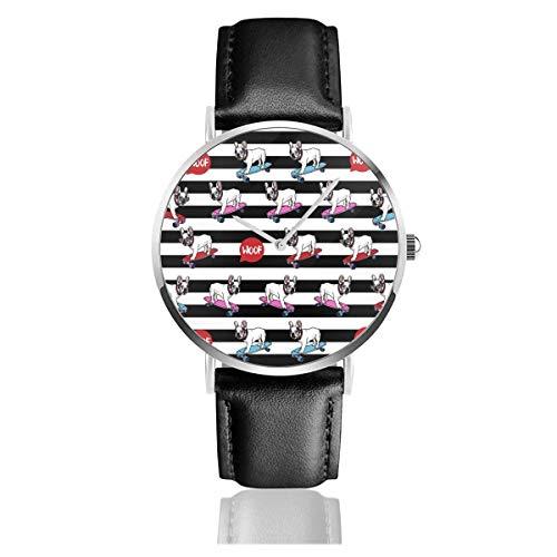 Bulldogge Hund Skateboard Unisex Uhr Mode Sportuhr PU Lederband Quarz Armbanduhren Schlanke Klassische Uhr