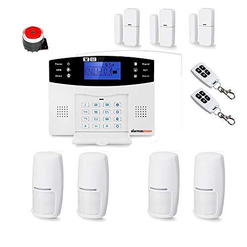Kit de Alarma para casa sin cuotas. Aviso Mediante Llamada de teléfono gsm, SMS. Instalación de detectores de Movimiento y Apertura sin Cables o con cableados. Fácil de Instalar Castellano (Kit 5)